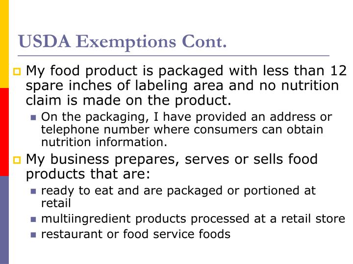 USDA Exemptions Cont.