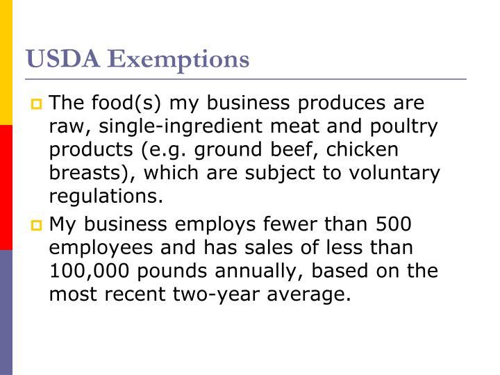 USDA Exemptions