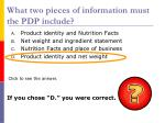 what two pieces of information must the pdp include