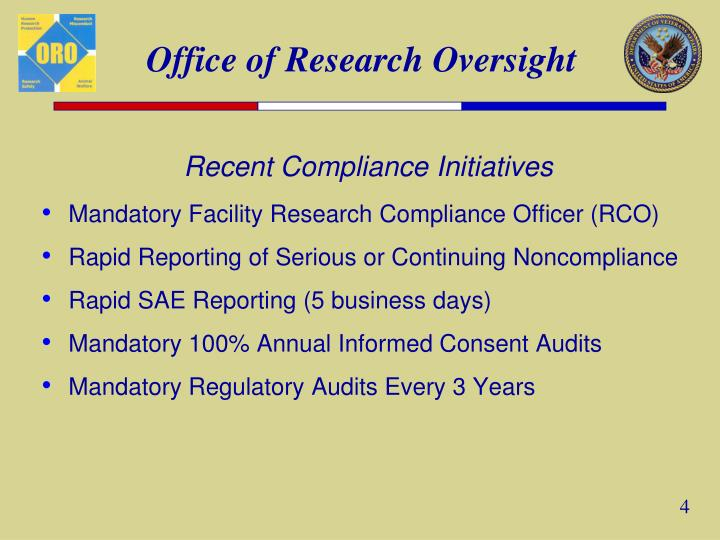 Recent Compliance Initiatives
