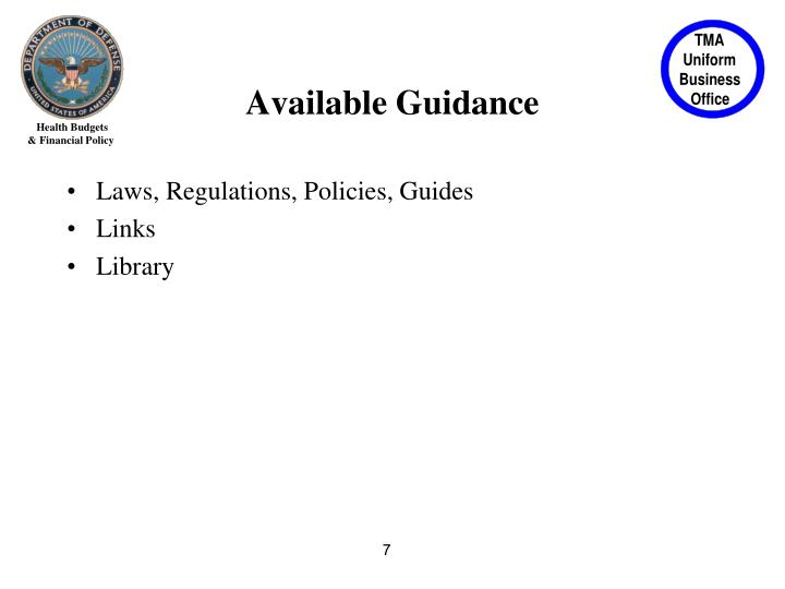 Available Guidance