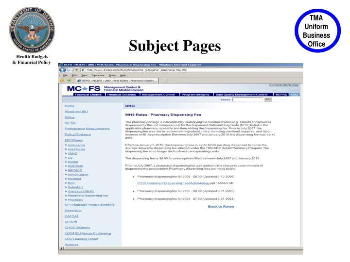 Subject Pages