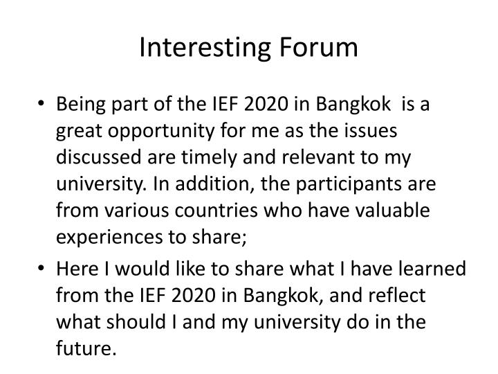 Interesting Forum
