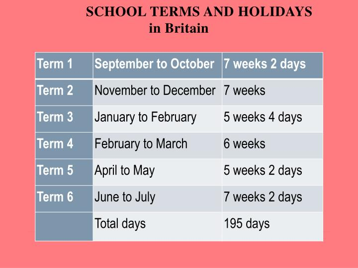 SCHOOL TERMS AND HOLIDAYS
