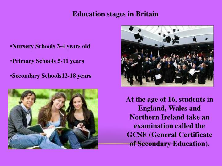 Education stages in Britain