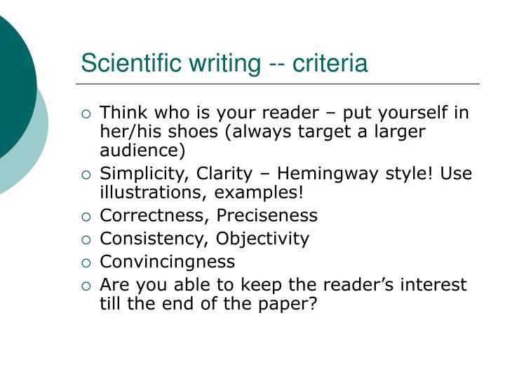 Scientific writing -- criteria