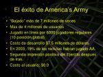 el xito de america s army