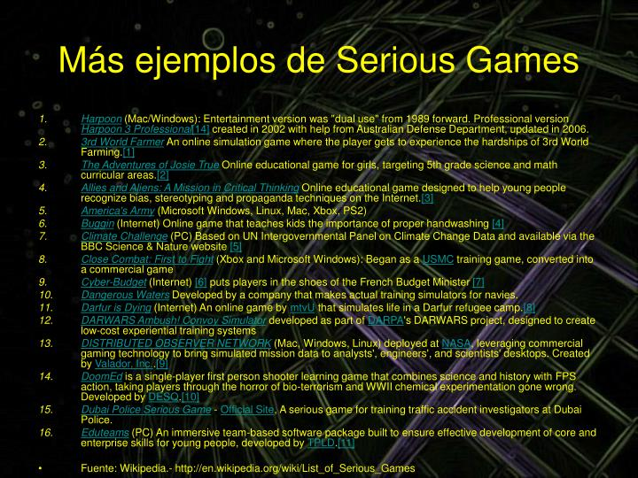 Más ejemplos de Serious Games