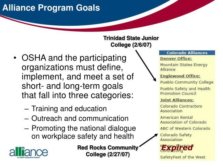 Alliance Program Goals