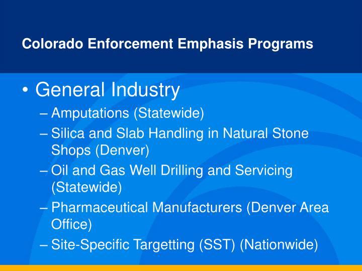 Colorado Enforcement Emphasis Programs