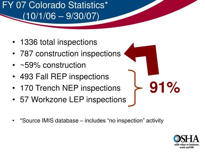 FY 07 Colorado Statistics*