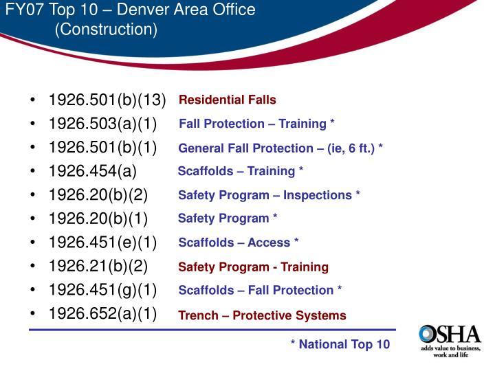 FY07 Top 10 – Denver Area Office