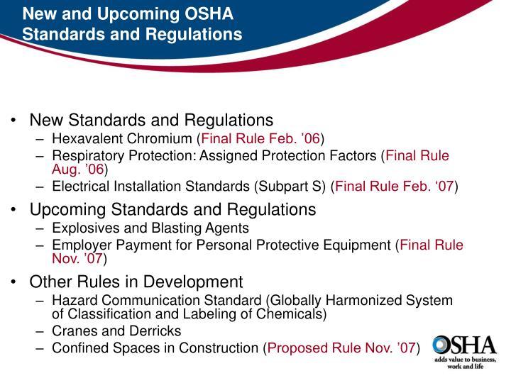 New and Upcoming OSHA