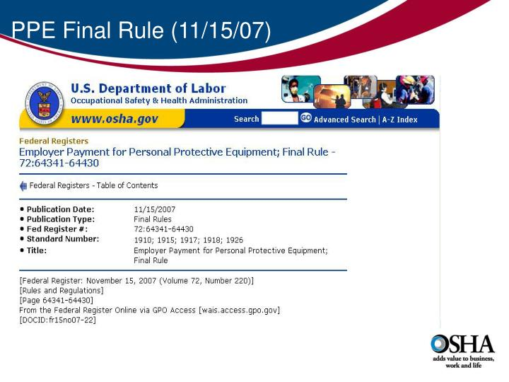 PPE Final Rule (11/15/07)