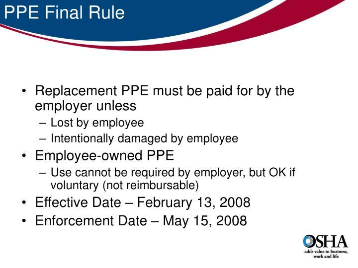 PPE Final Rule