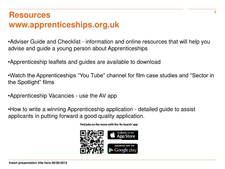 Resources www apprenticeships org uk