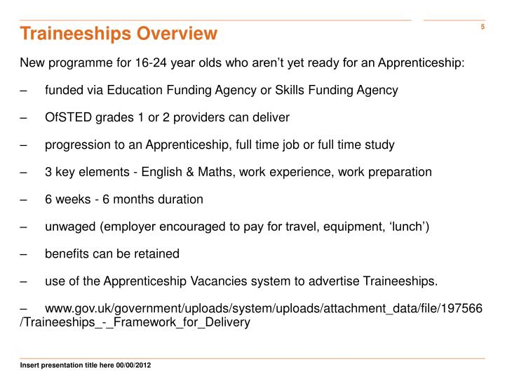 Traineeships Overview