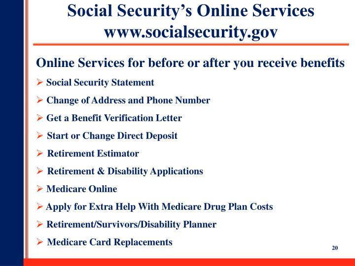 Social Security's Online