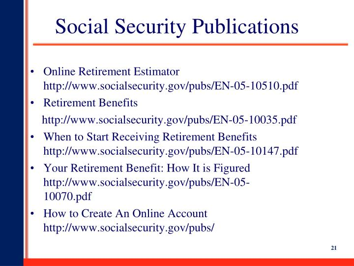 Social Security Publications
