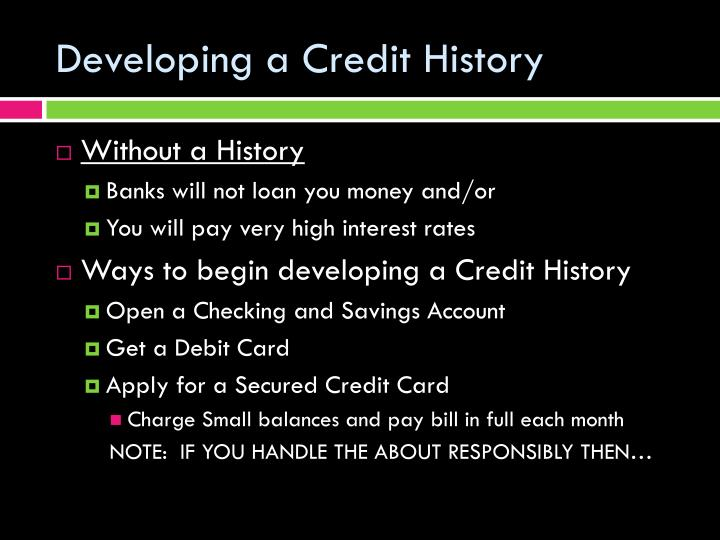 Developing a Credit History