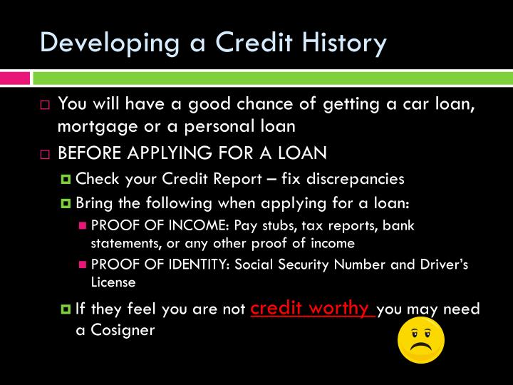 Developing a credit history1