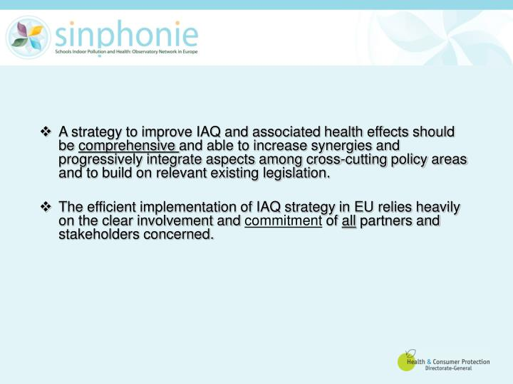 A strategy to improve IAQ and associated health effects should be