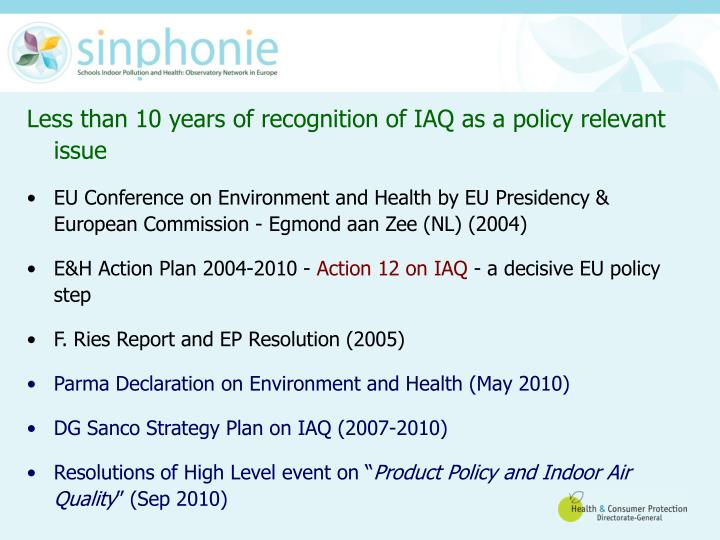 Less than 10 years of recognition of IAQ as a policy relevant issue