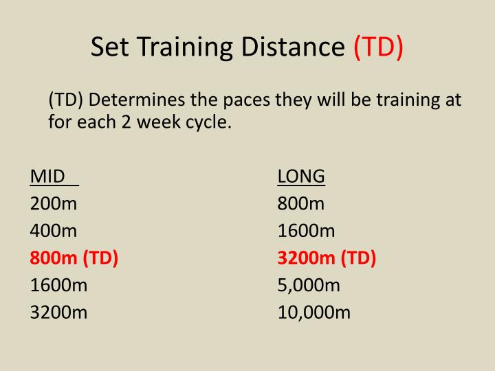 Set Training Distance