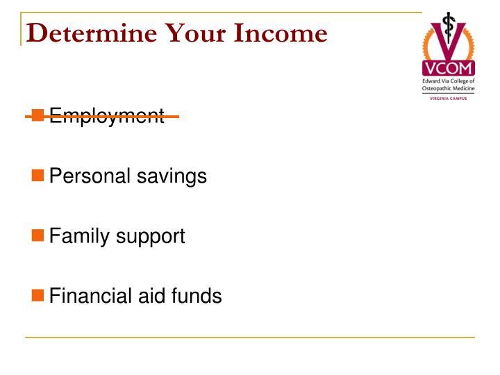 Determine Your Income