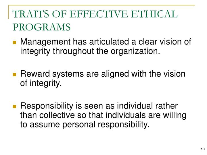 TRAITS OF EFFECTIVE ETHICAL