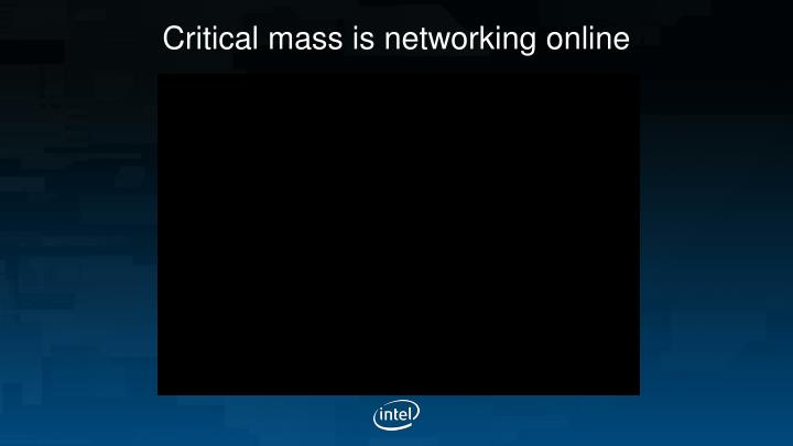 Critical mass is networking online