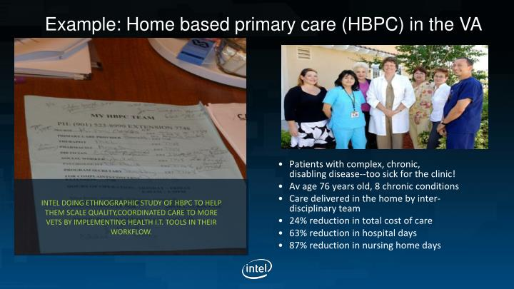 Example: Home based primary care (HBPC) in the VA