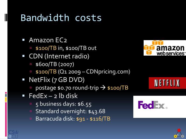 Bandwidth costs