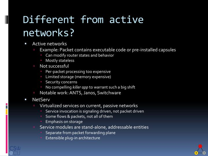 Different from active networks?