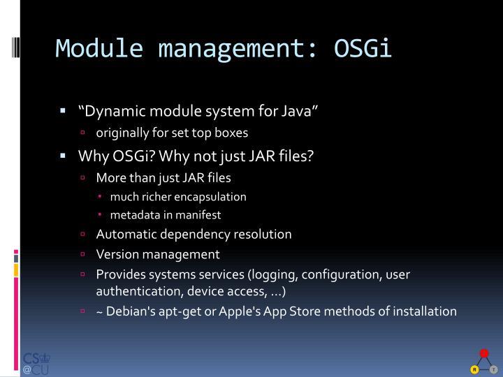 Module management: