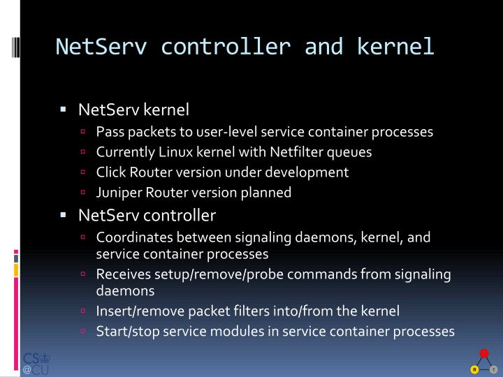 NetServ controller and kernel