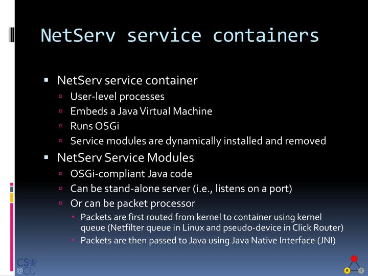 NetServ service containers