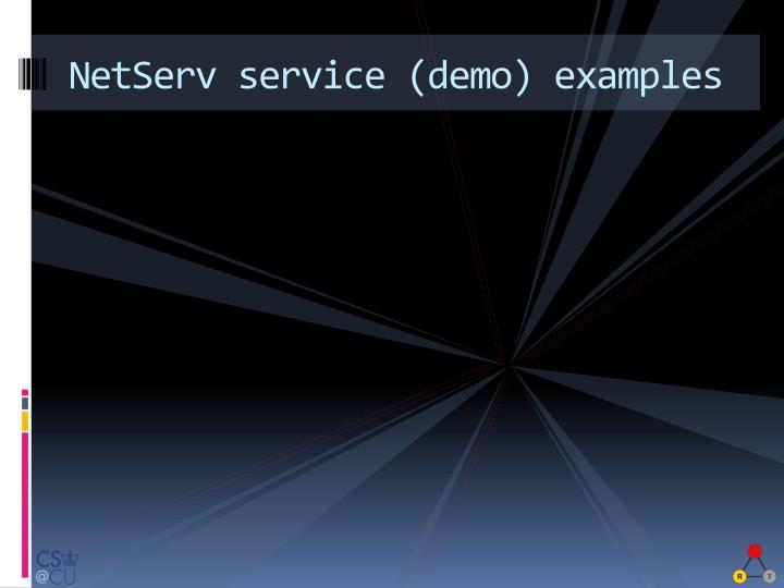 NetServ service (demo) examples