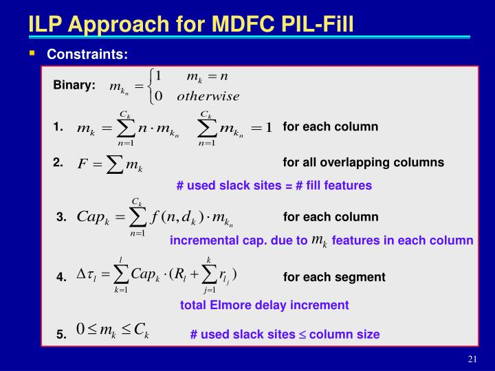 ILP Approach for MDFC PIL-Fill