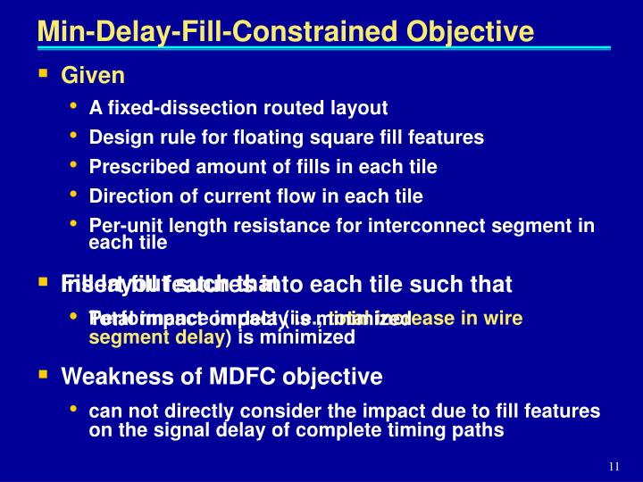 Min-Delay-Fill-Constrained Objective