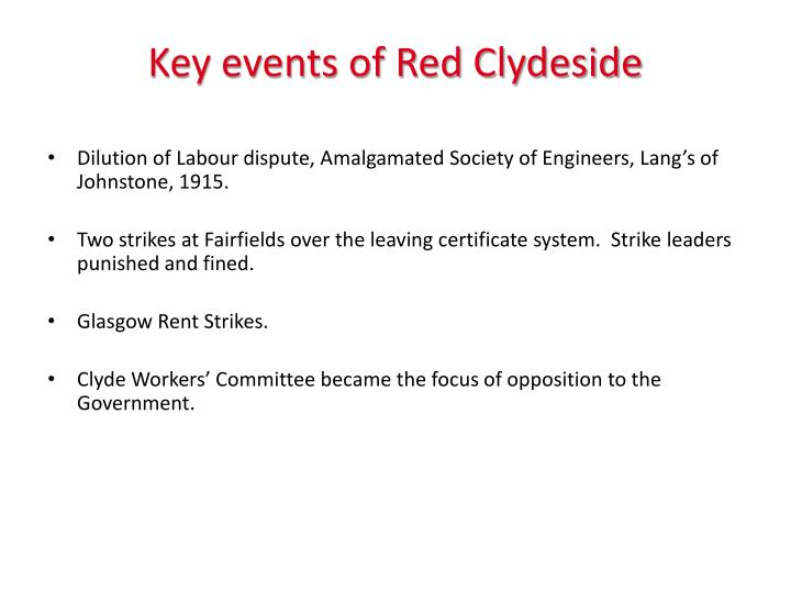 Key events of Red Clydeside