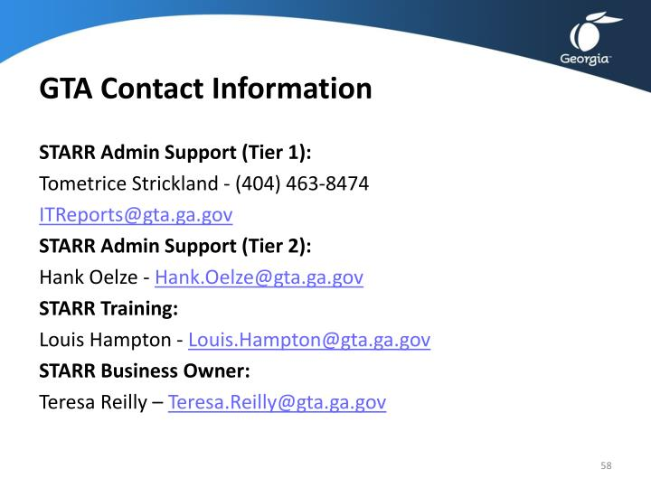 GTA Contact Information