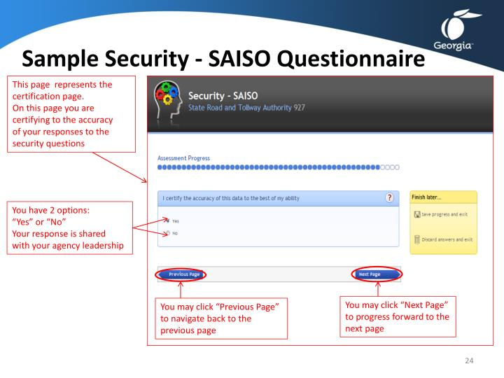 Sample Security - SAISO Questionnaire