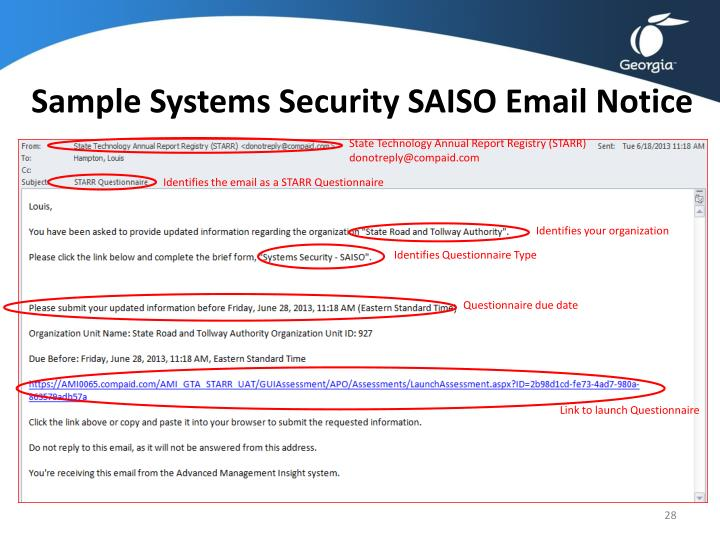 Sample Systems Security SAISO Email Notice