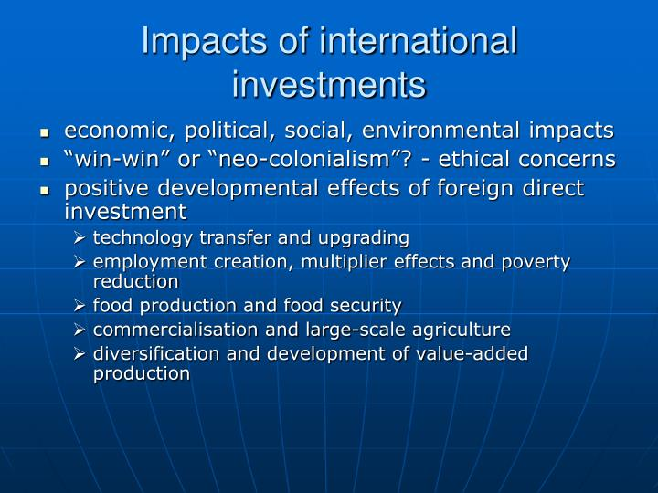 Impacts of international investments
