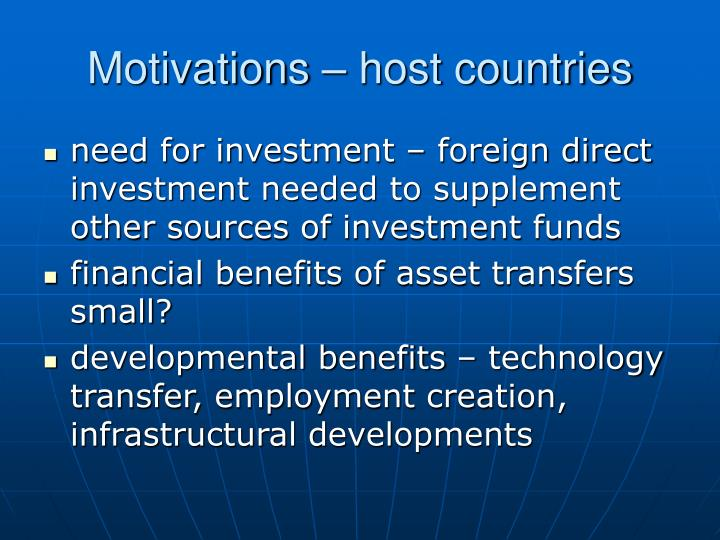 Motivations – host countries