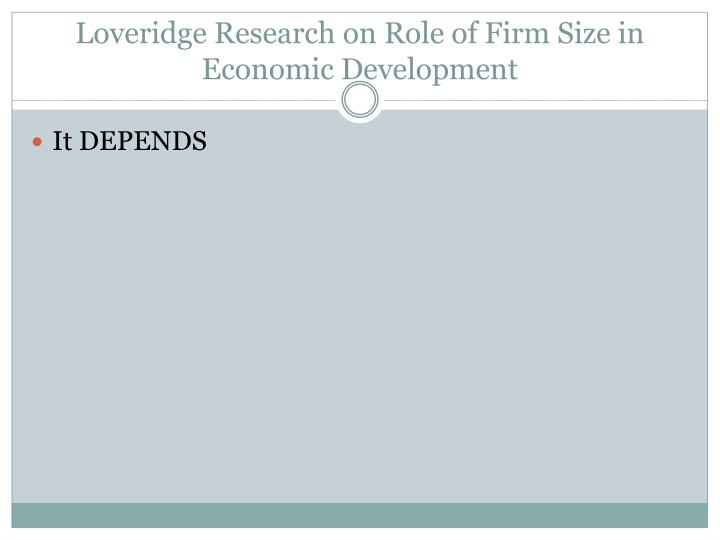Loveridge Research on Role of Firm Size in Economic Development