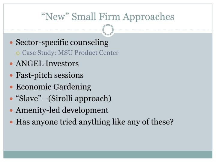 """New"" Small Firm Approaches"