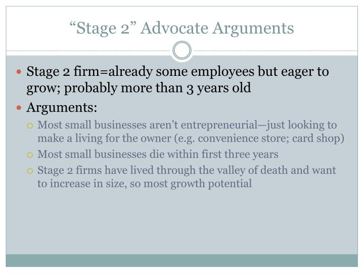 """Stage 2"" Advocate Arguments"