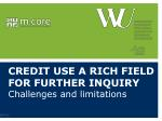 credit use a rich field for further inquiry